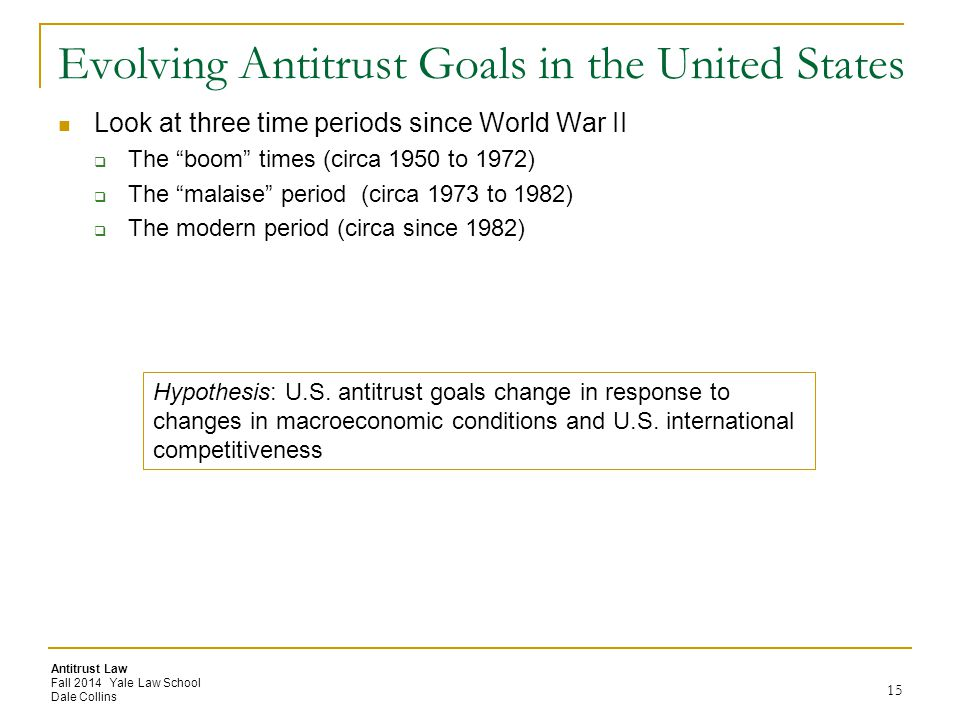 Evolving Antitrust Goals in the United States