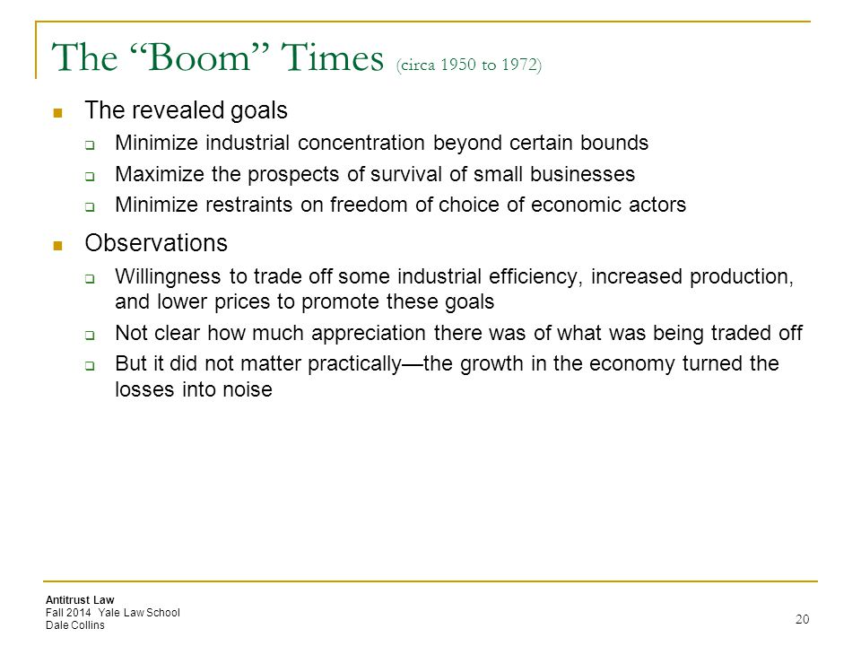 The Boom Times (circa 1950 to 1972)