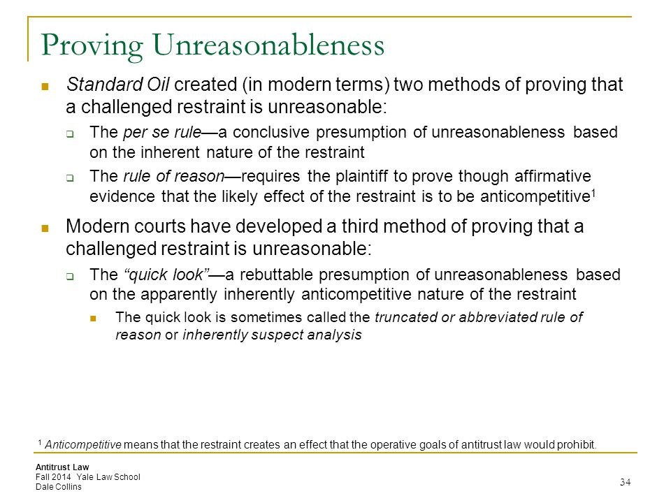 Proving Unreasonableness