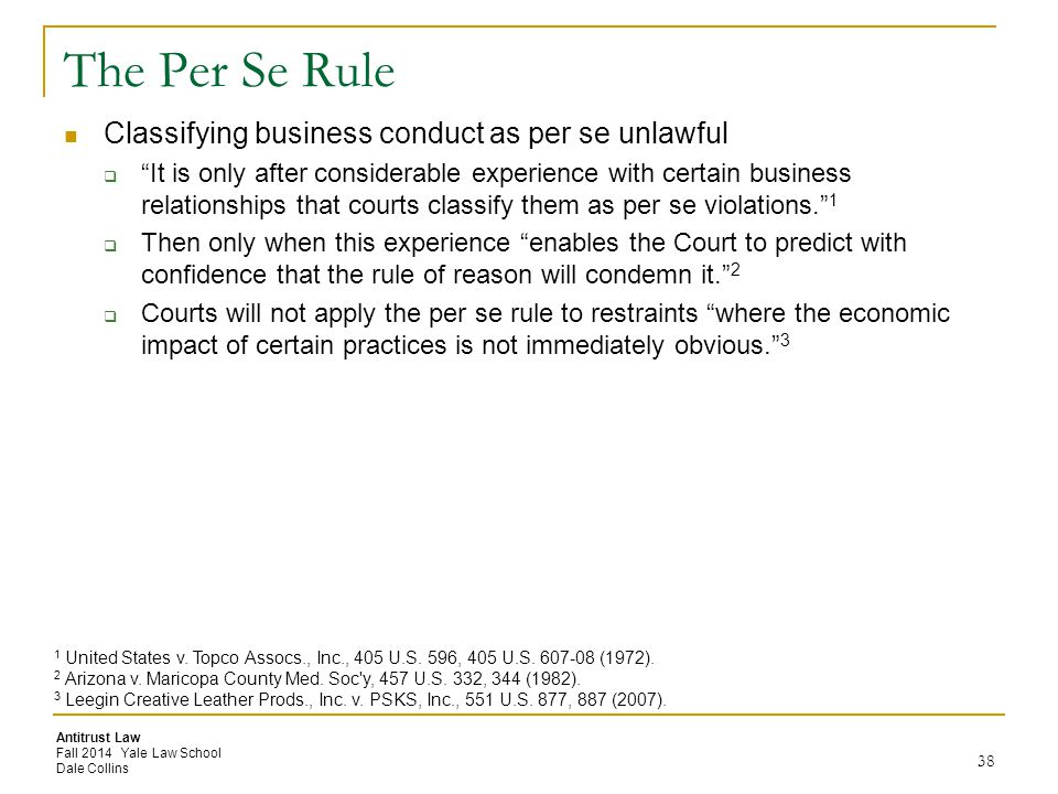 The Per Se Rule Classifying business conduct as per se unlawful