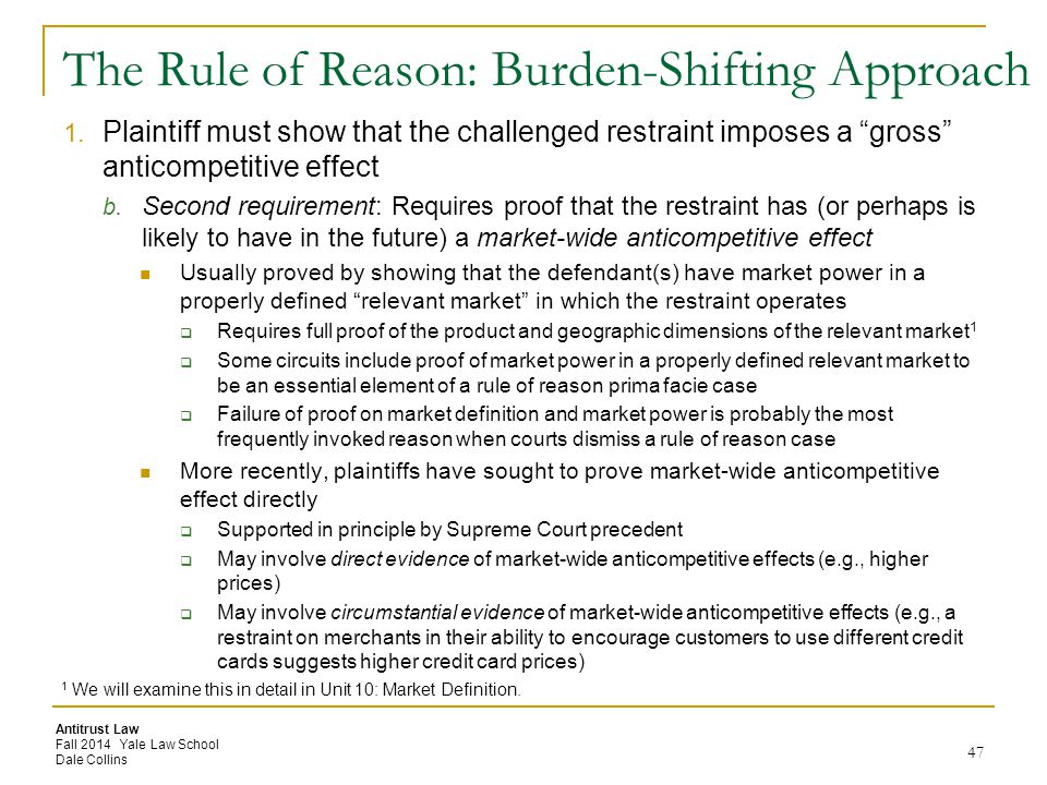 The Rule of Reason: Burden-Shifting Approach