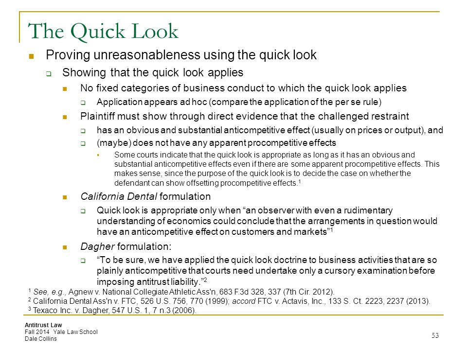 The Quick Look Proving unreasonableness using the quick look