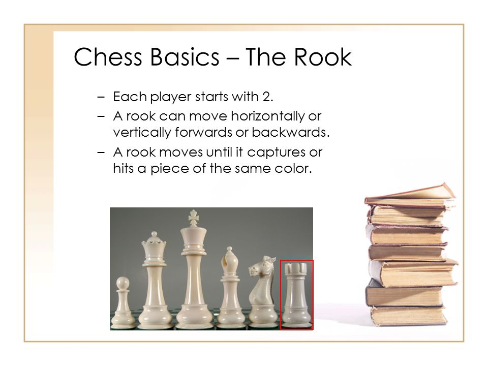 Chess Basics – The Rook Each player starts with 2.
