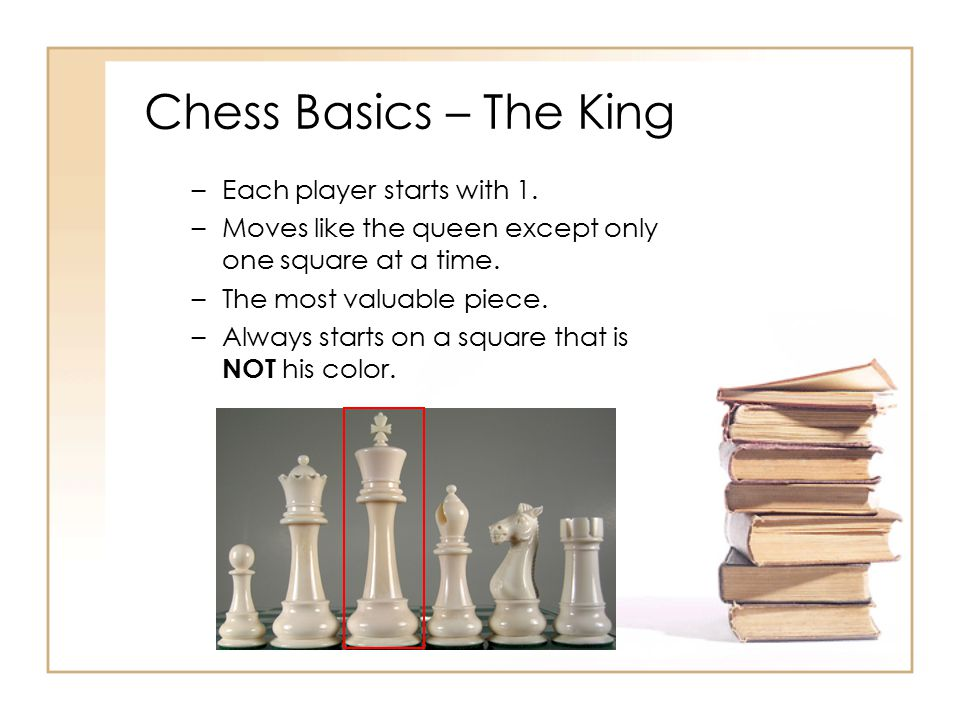 Chess Basics – The King Each player starts with 1.