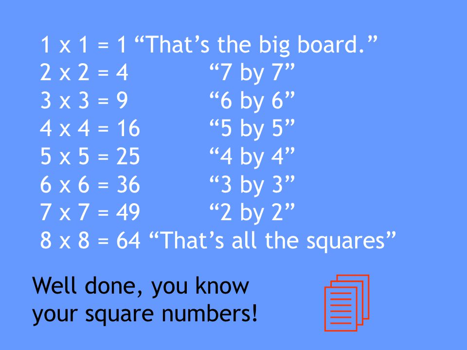 4 1 x 1 = 1 That's the big board. 2 x 2 = 4 7 by 7