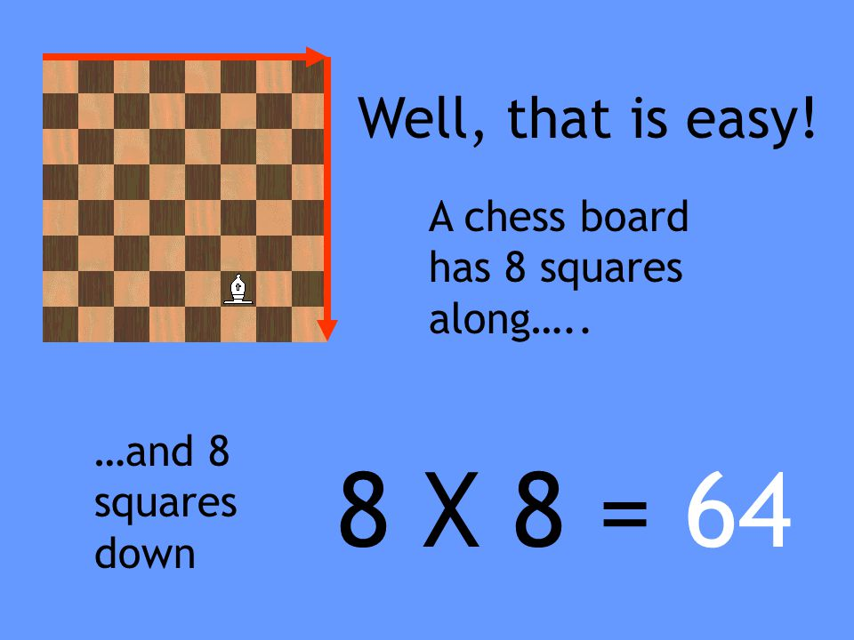 8 X 8 = 64 Well, that is easy! A chess board has 8 squares along…..