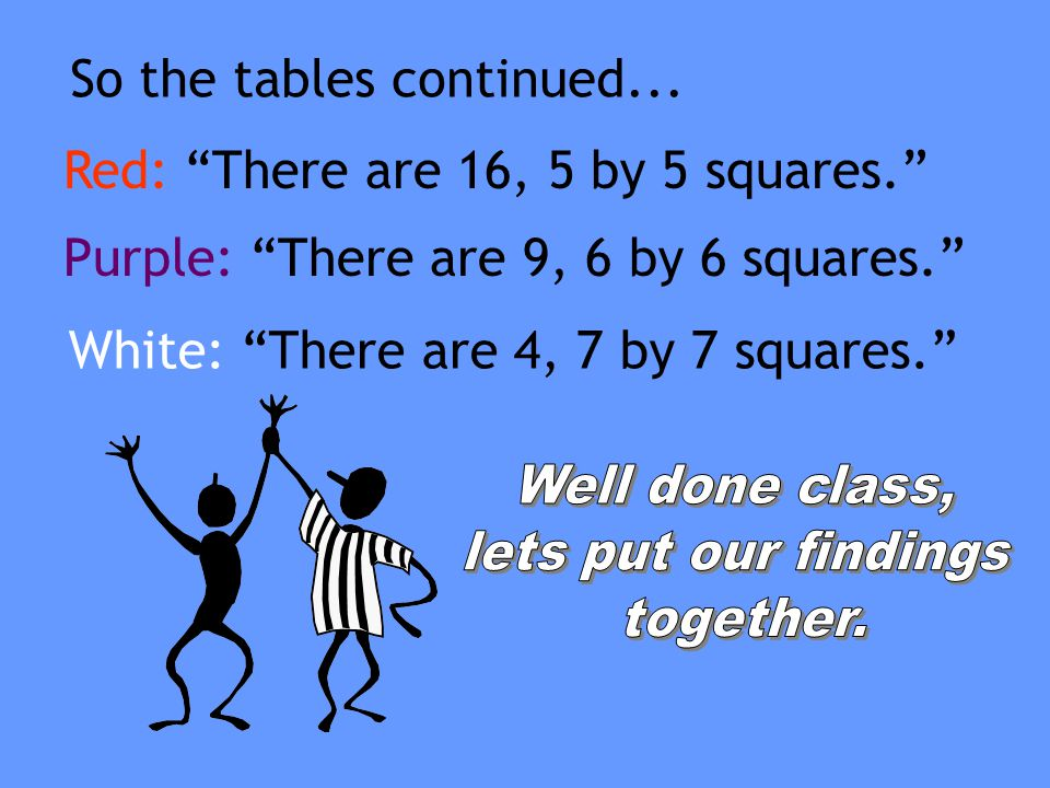 So the tables continued...