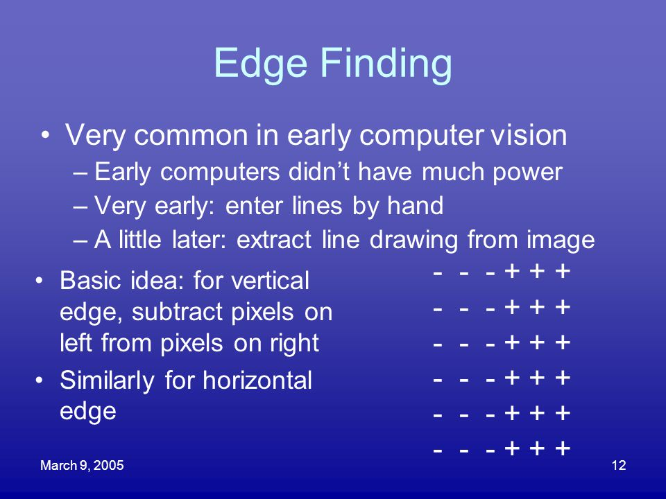 Edge Finding Very common in early computer vision - - - + + +