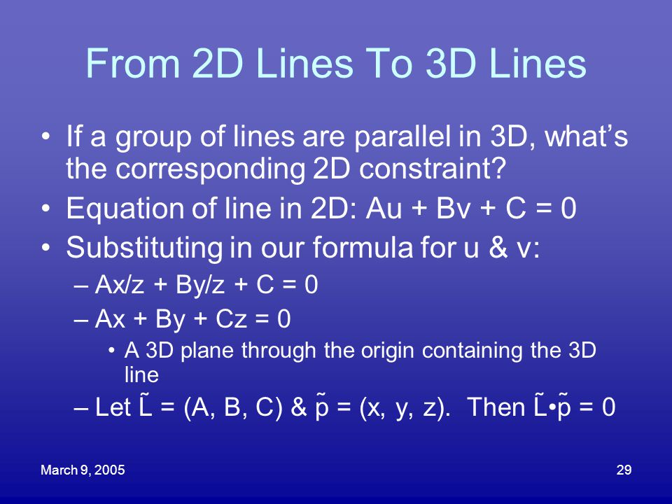 From 2D Lines To 3D Lines If a group of lines are parallel in 3D, what's the corresponding 2D constraint