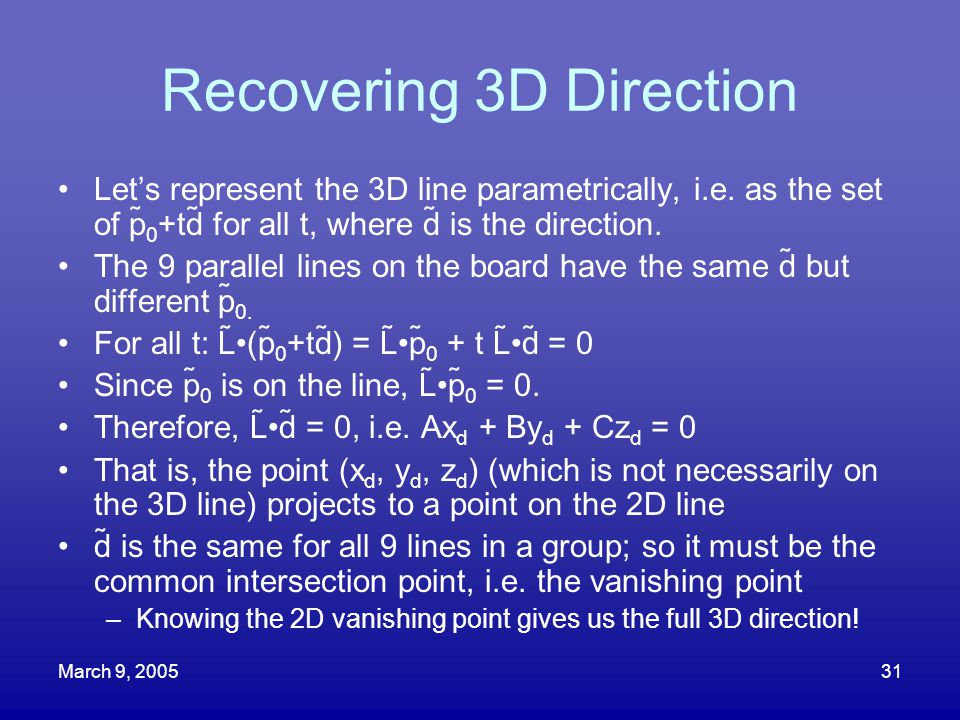 Recovering 3D Direction