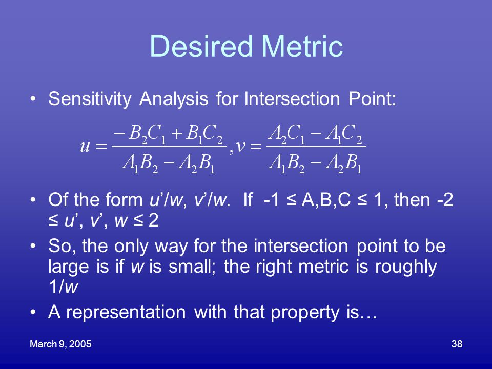 Desired Metric Sensitivity Analysis for Intersection Point: