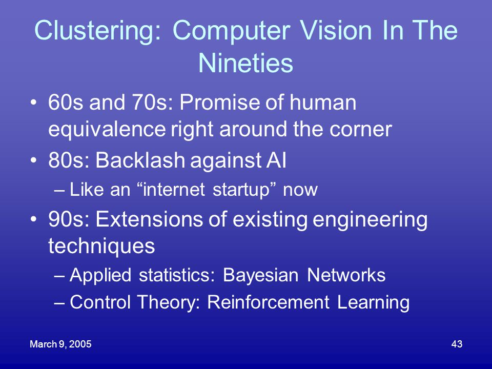 Clustering: Computer Vision In The Nineties