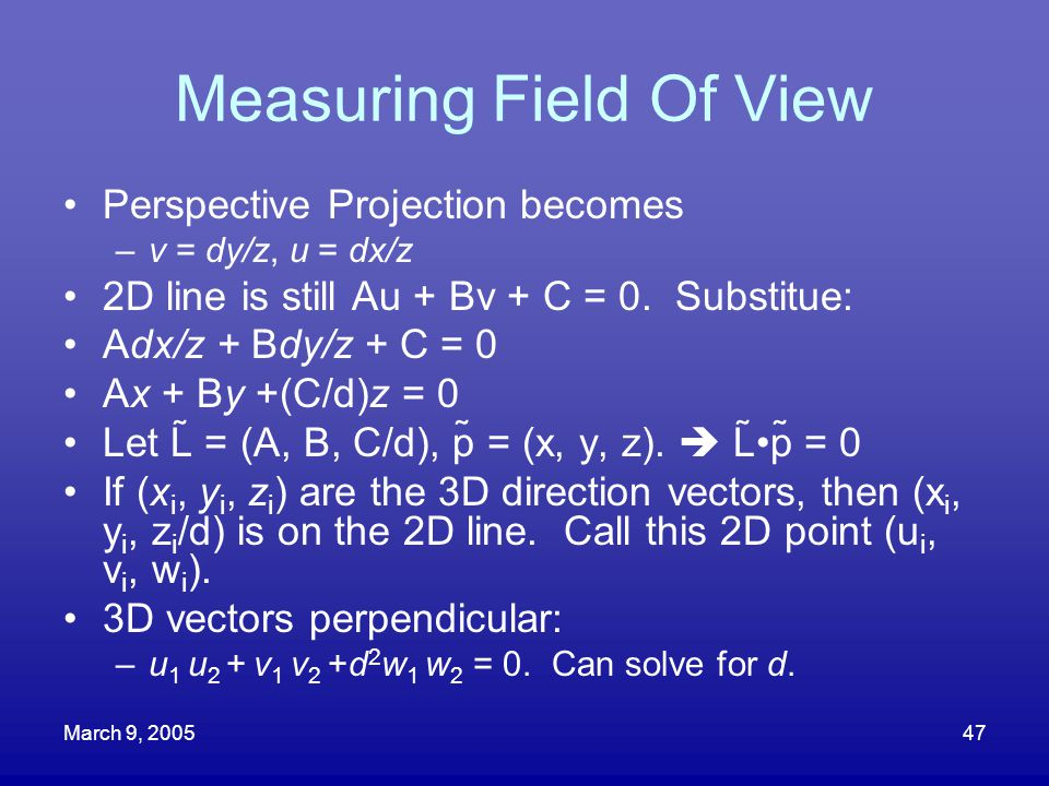 Measuring Field Of View