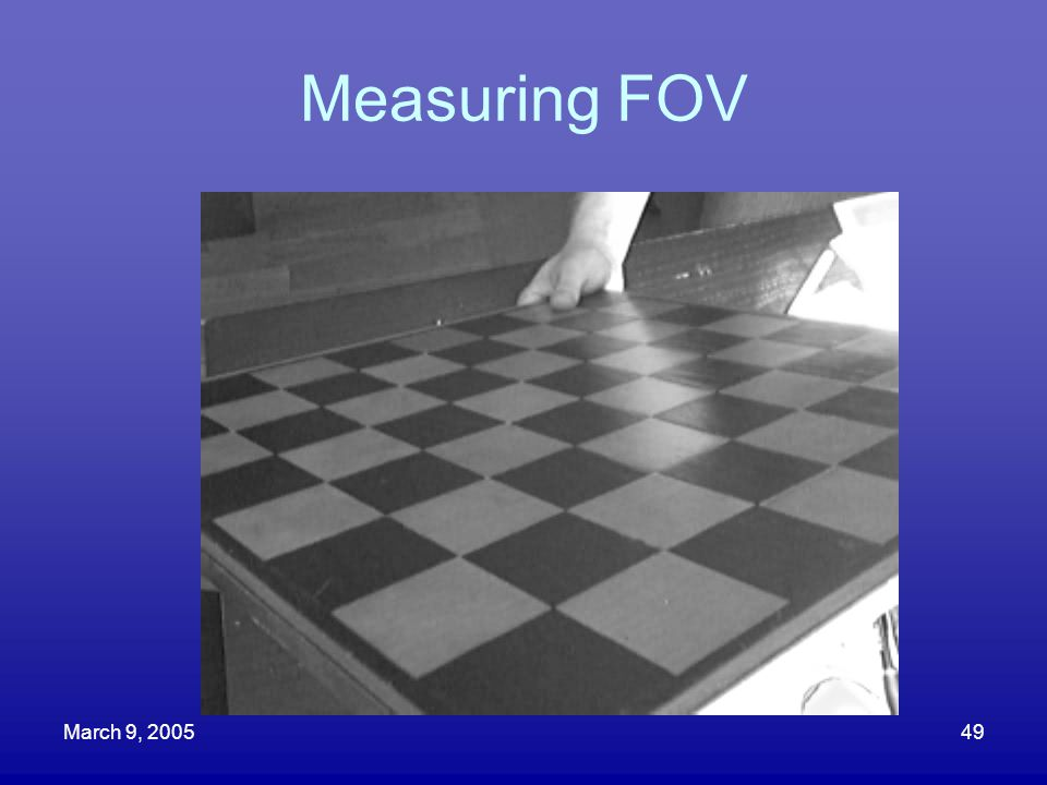 Measuring FOV March 9, 2005