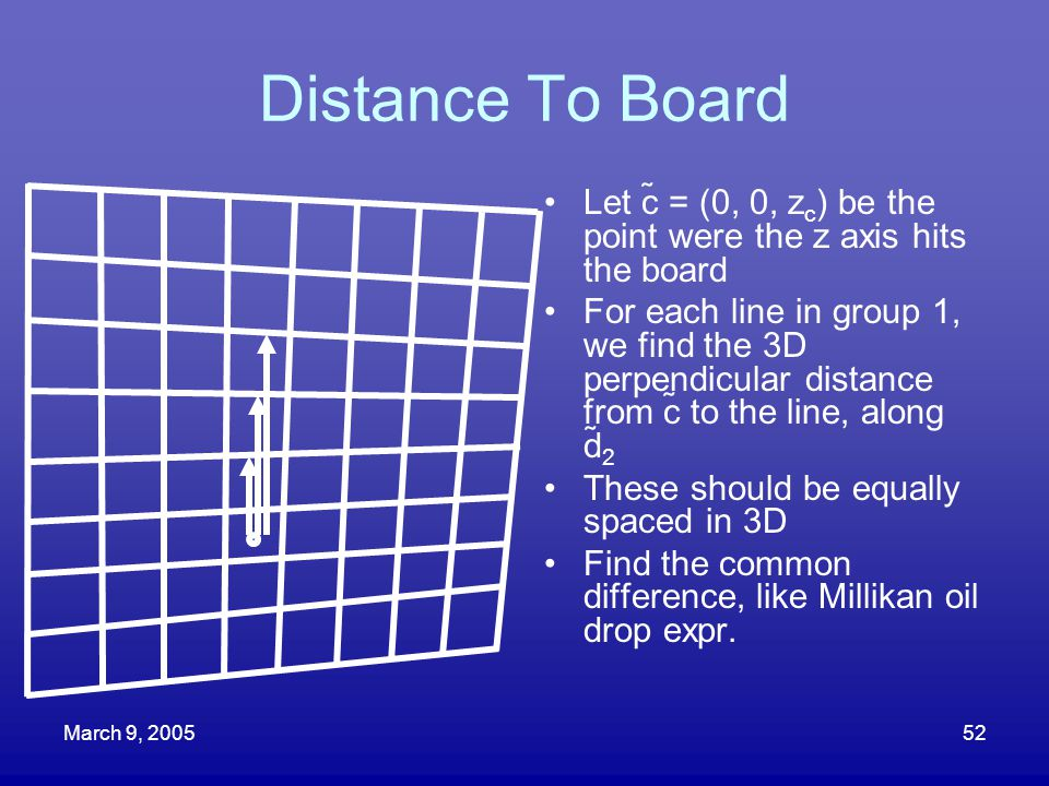 Distance To Board Let c = (0, 0, zc) be the point were the z axis hits the board.
