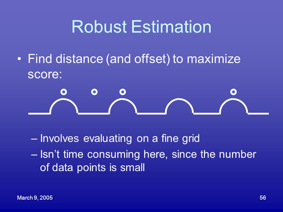Robust Estimation Find distance (and offset) to maximize score: