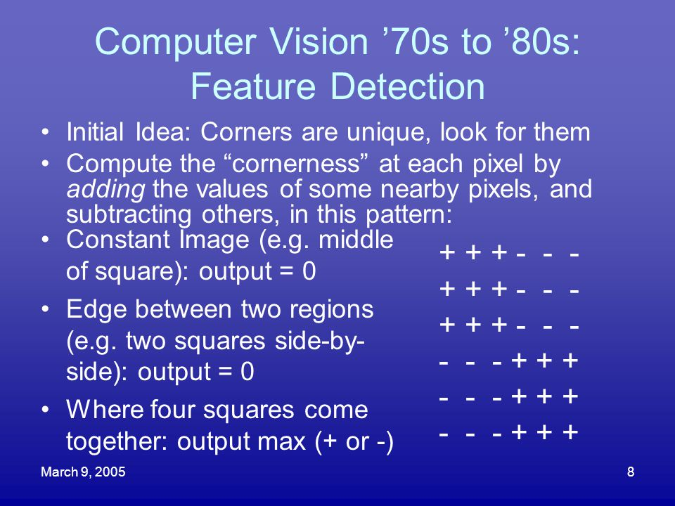 Computer Vision '70s to '80s: Feature Detection