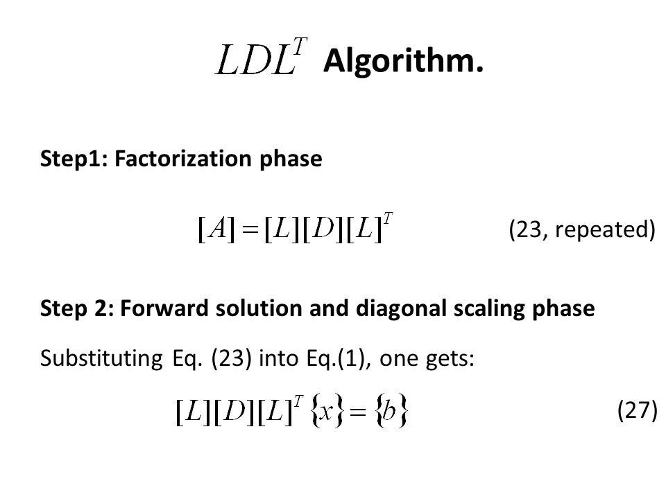 Algorithm. Step1: Factorization phase (23, repeated)