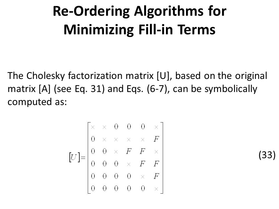 Re-Ordering Algorithms for Minimizing Fill-in Terms