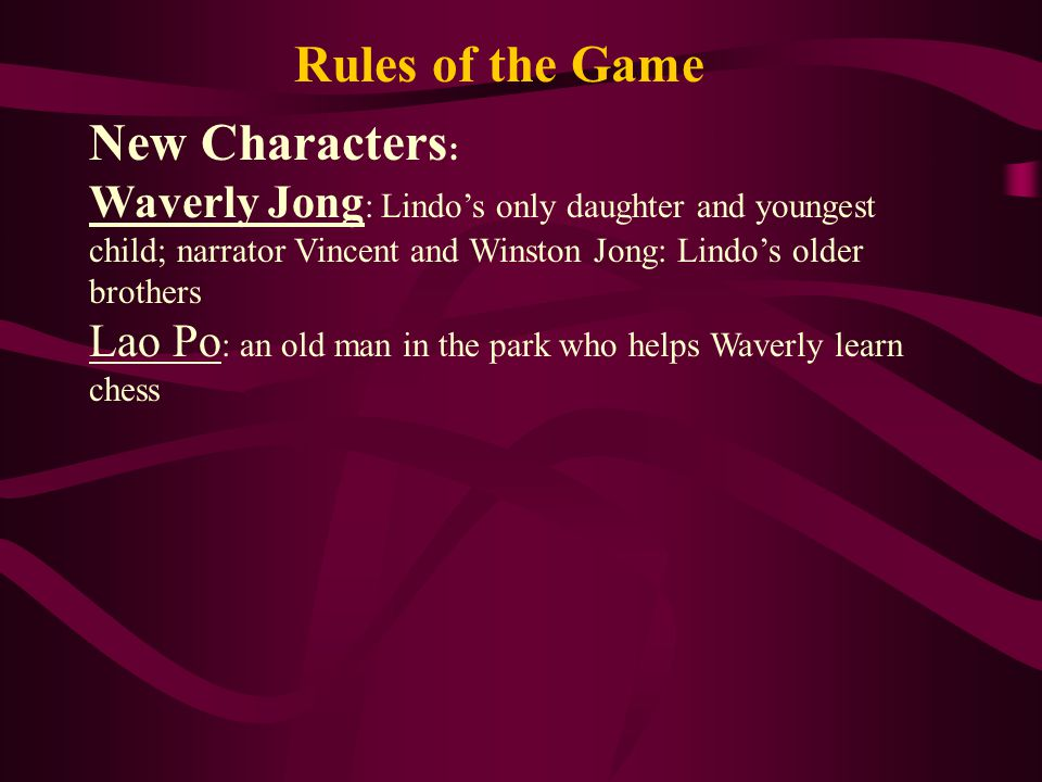 Rules of the Game New Characters: