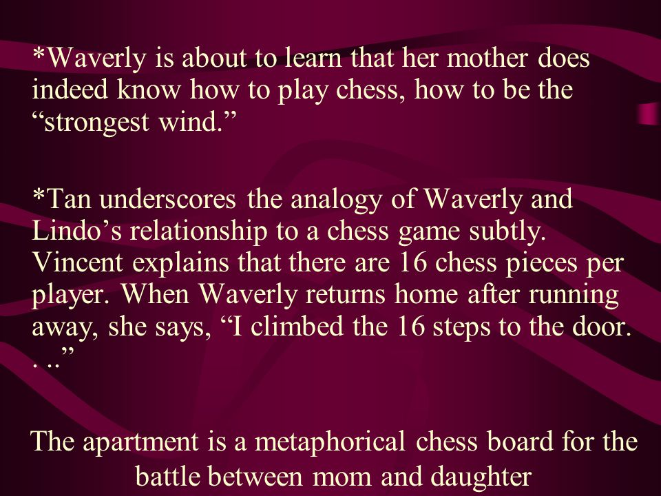 *Waverly is about to learn that her mother does indeed know how to play chess, how to be the strongest wind.