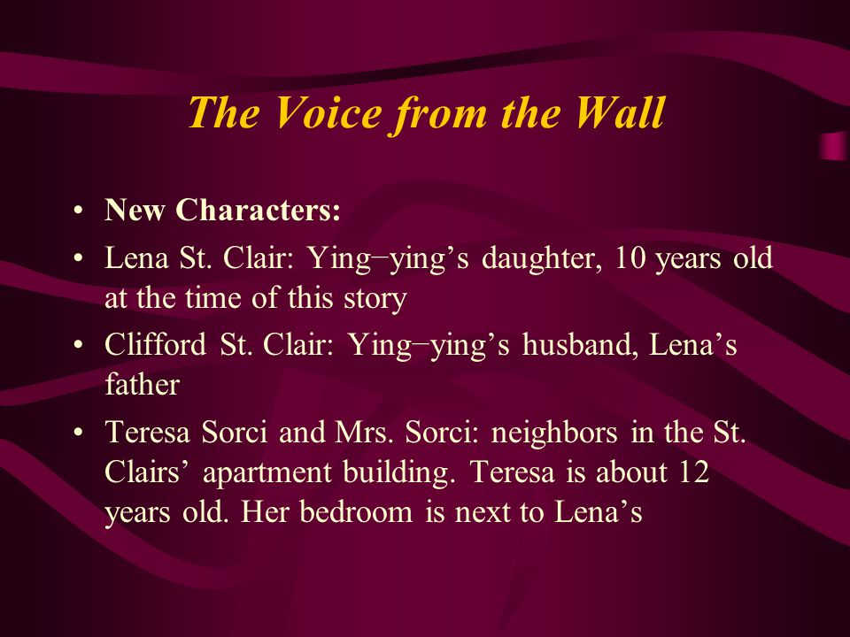 The Voice from the Wall New Characters: