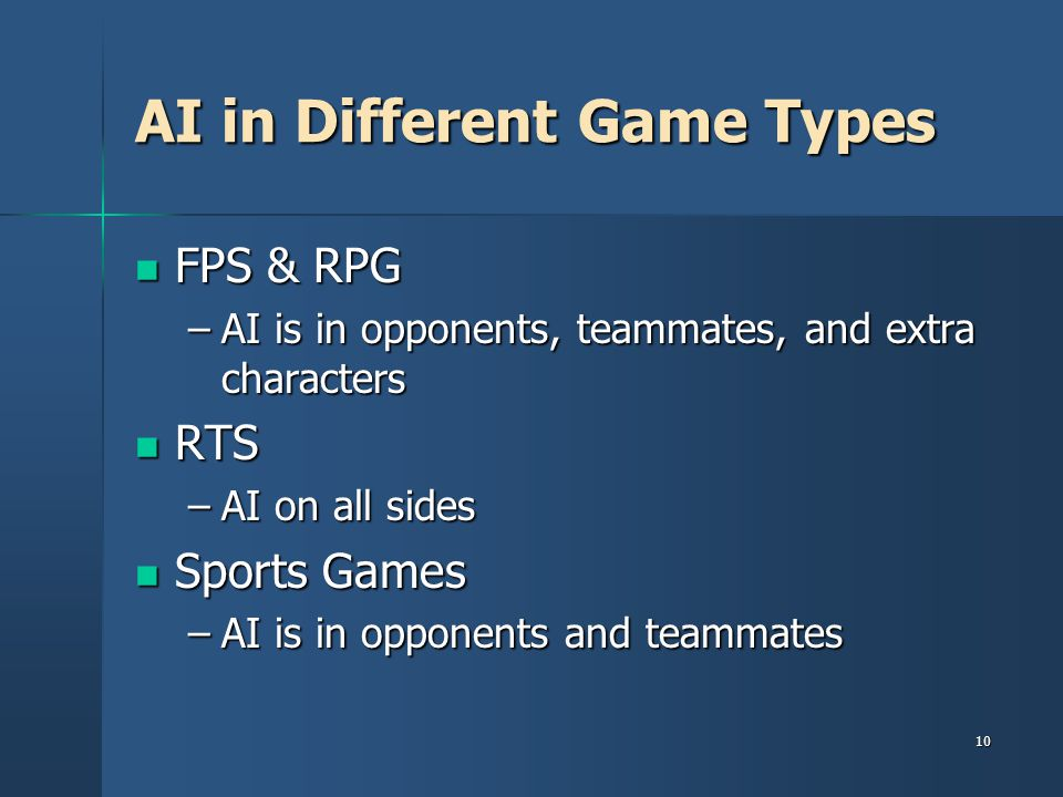 AI in Different Game Types