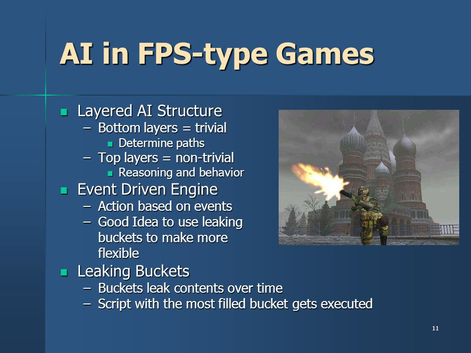 AI in FPS-type Games Layered AI Structure Event Driven Engine