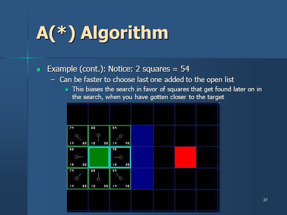 A(*) Algorithm Example (cont.): Notice: 2 squares = 54