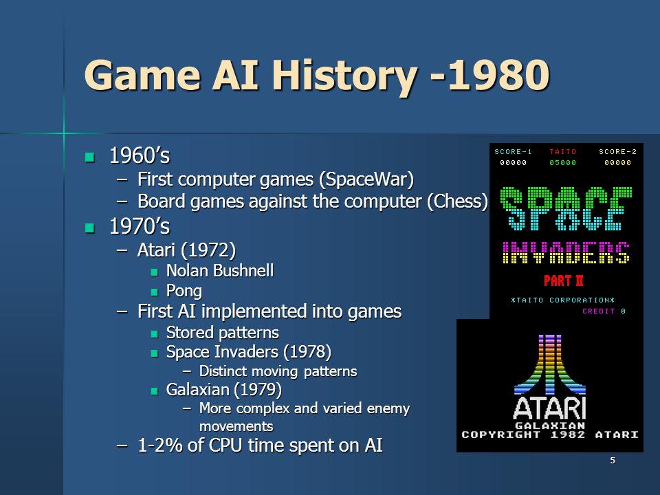 Game AI History -1980 1960's 1970's First computer games (SpaceWar)