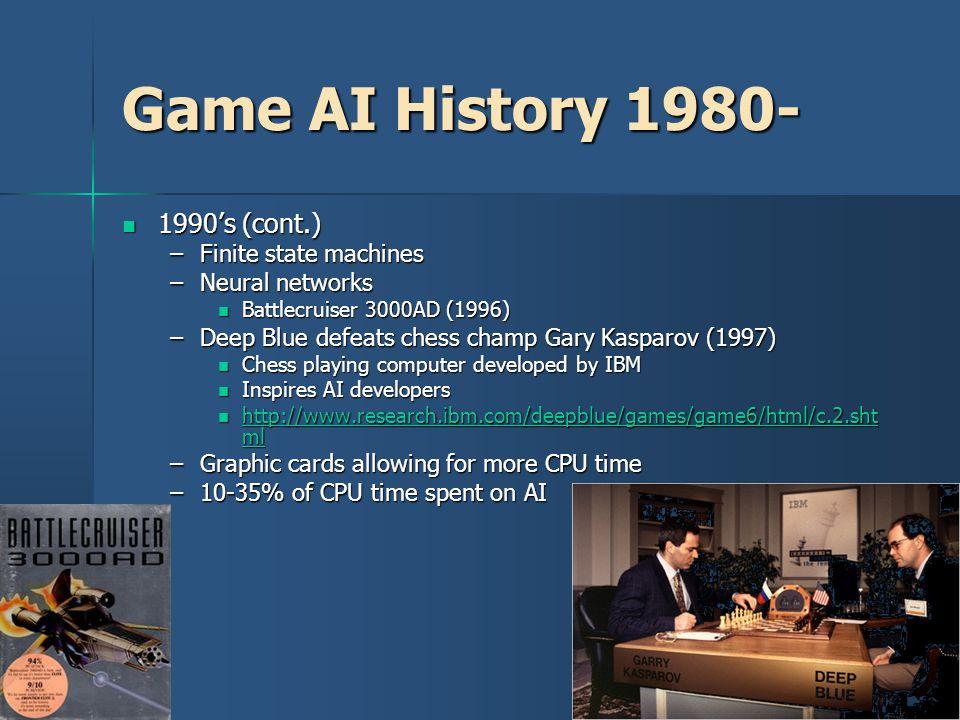 Game AI History 1980- 1990's (cont.) Finite state machines