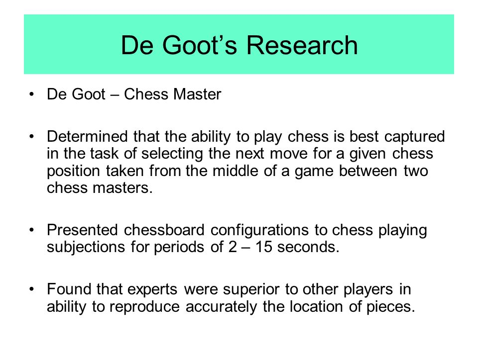 De Goot's Research De Goot – Chess Master