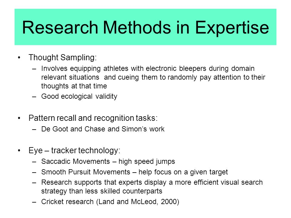 Research Methods in Expertise