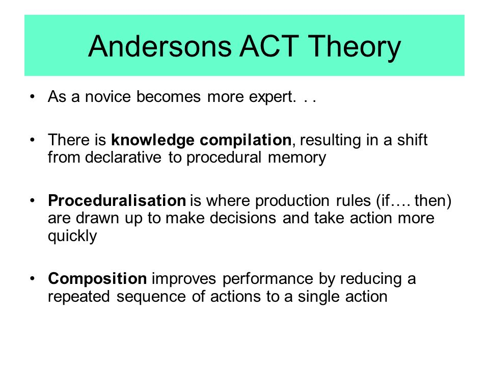 Andersons ACT Theory As a novice becomes more expert. . .