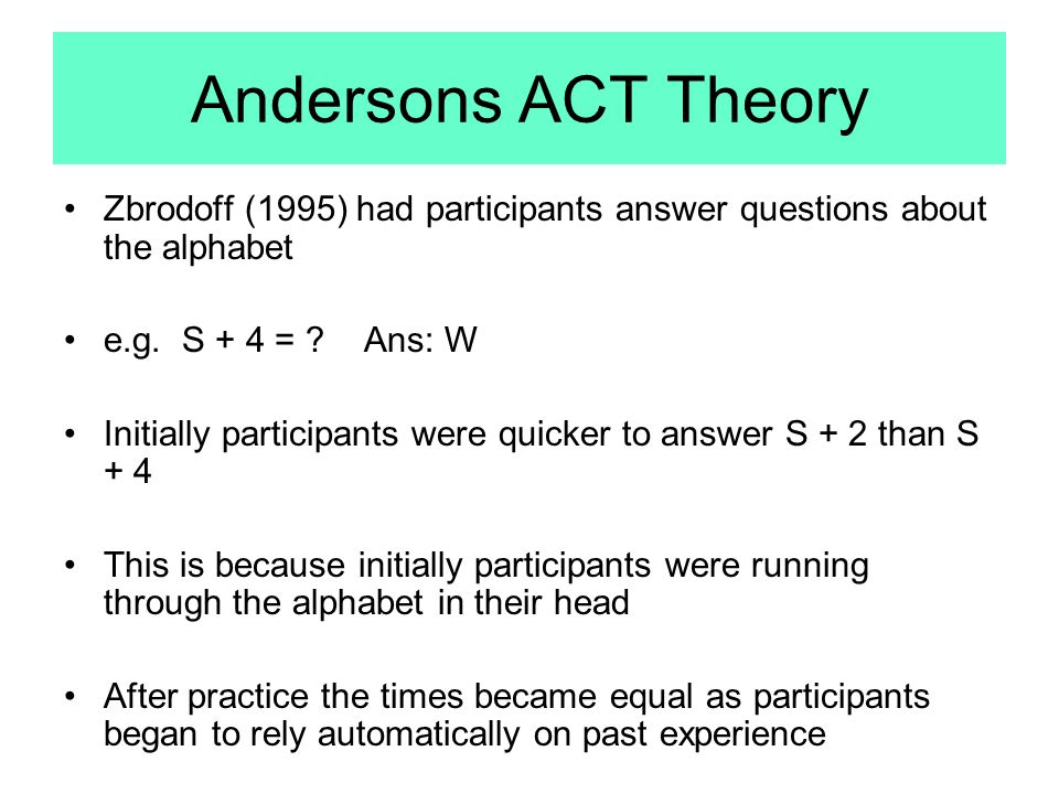 Andersons ACT Theory Zbrodoff (1995) had participants answer questions about the alphabet. e.g. S + 4 = Ans: W.