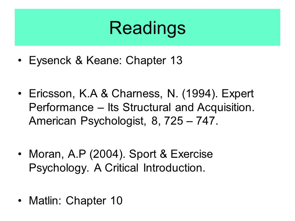 Readings Eysenck & Keane: Chapter 13