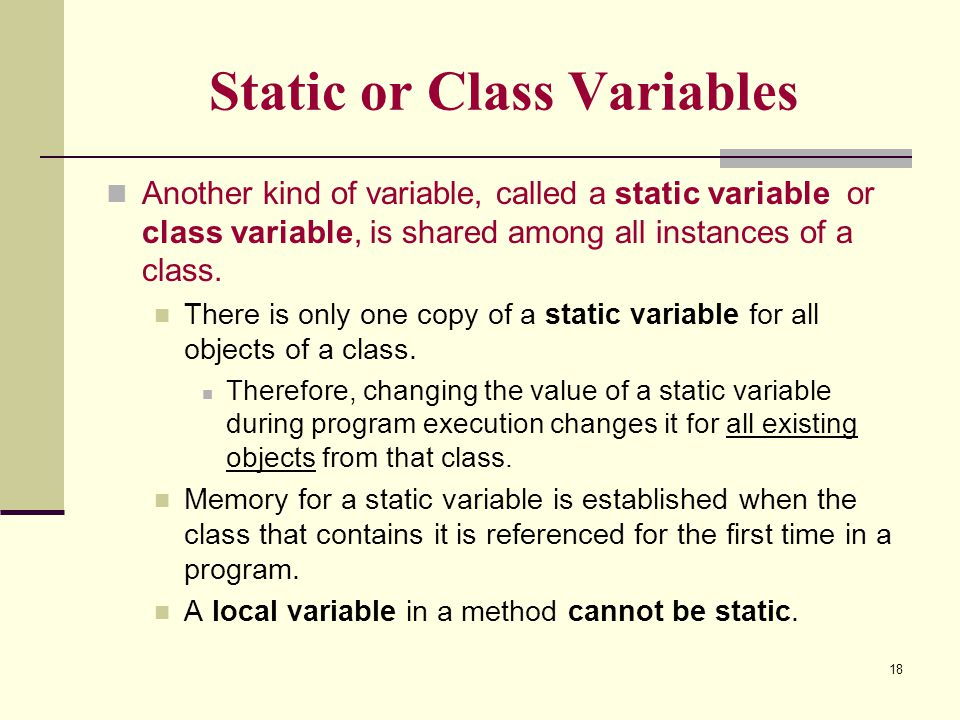Static or Class Variables
