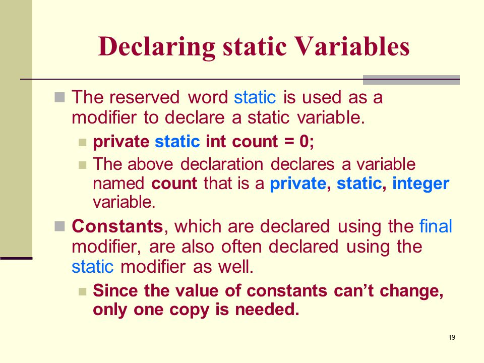 Declaring static Variables