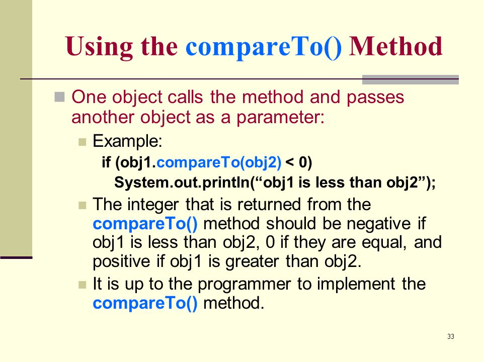 Using the compareTo() Method