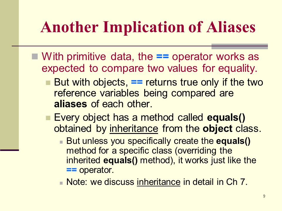 Another Implication of Aliases
