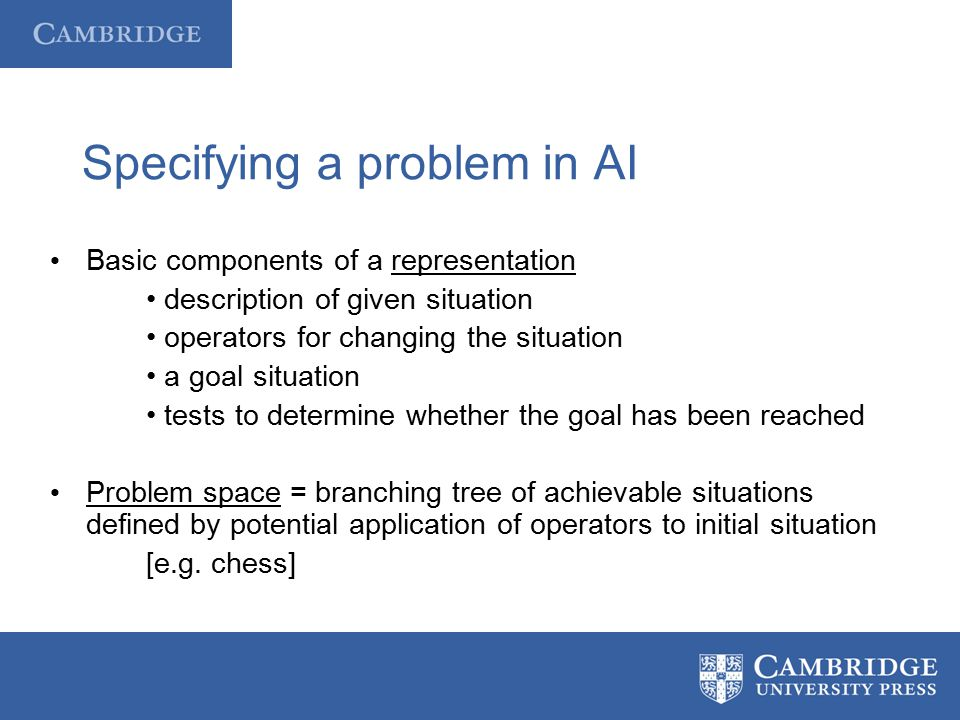 Specifying a problem in AI