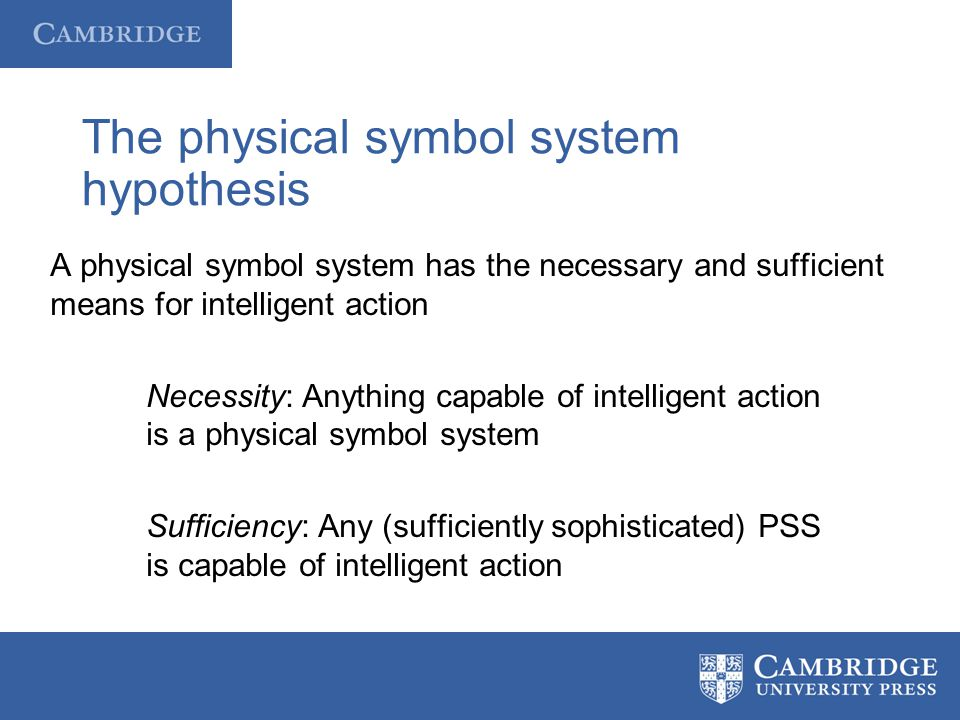 The physical symbol system hypothesis