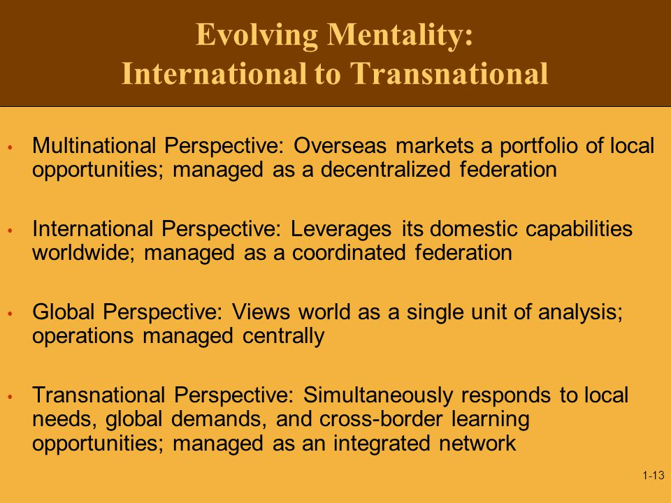 Evolving Mentality: International to Transnational