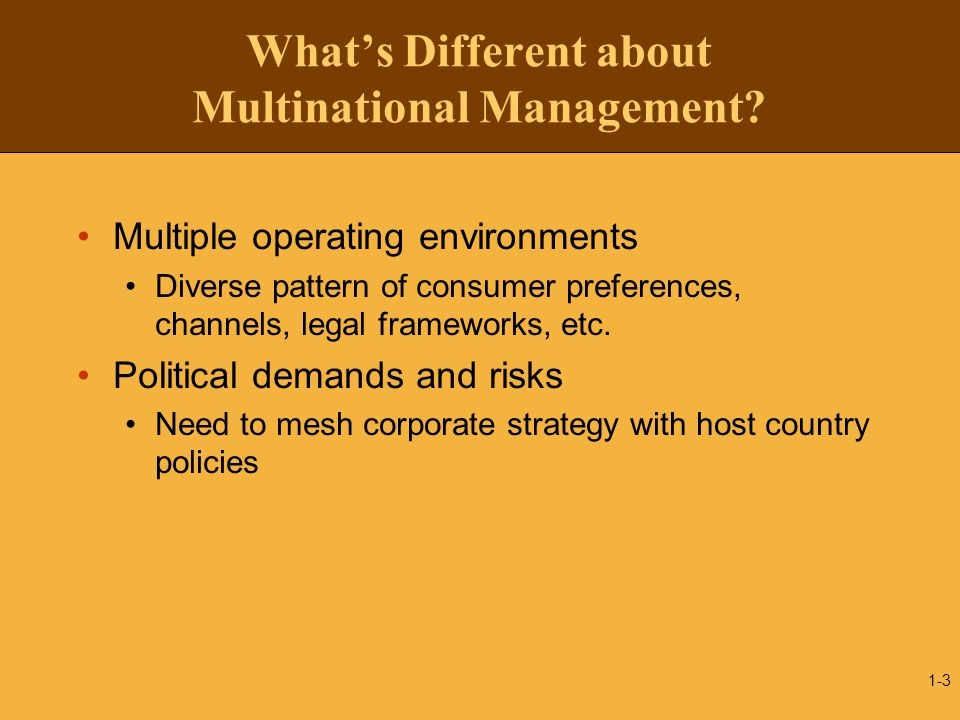 What's Different about Multinational Management