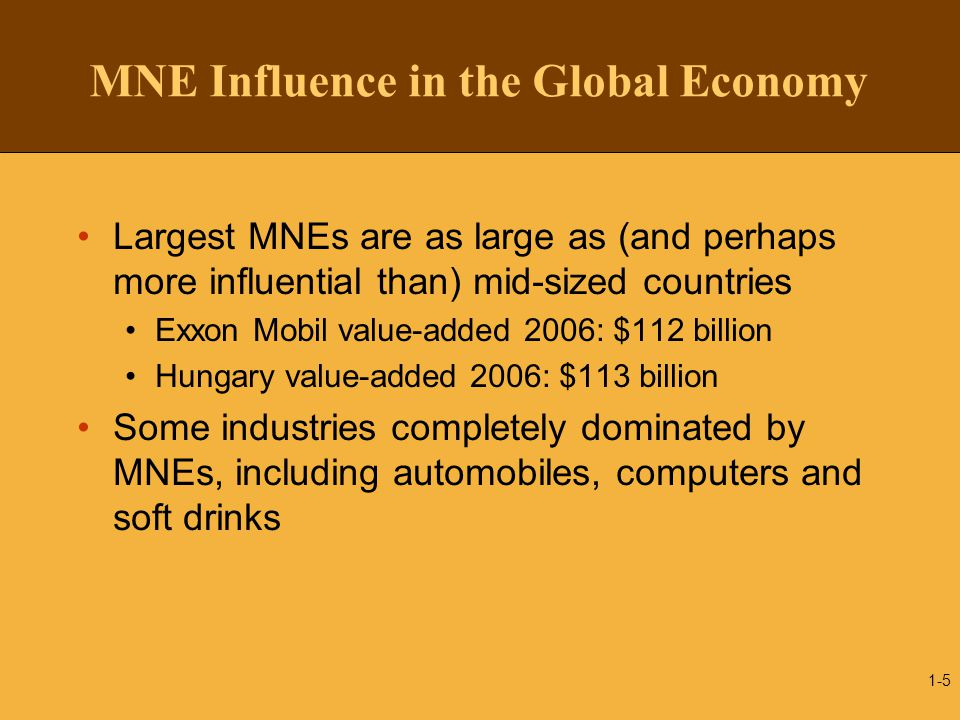 MNE Influence in the Global Economy