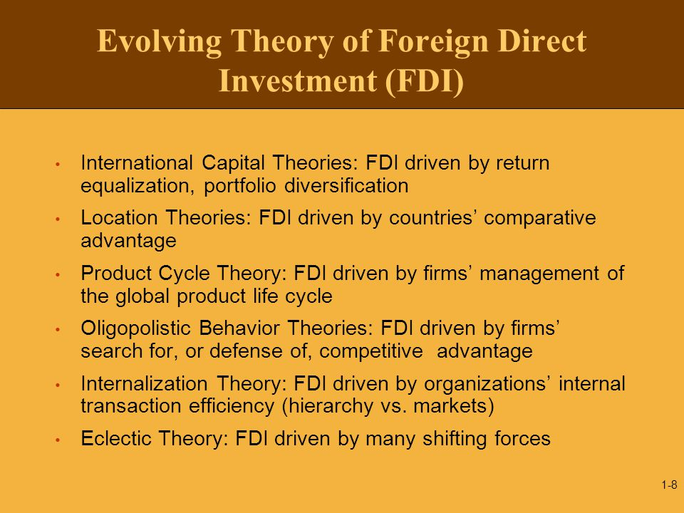 Evolving Theory of Foreign Direct Investment (FDI)