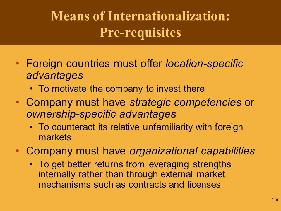 Means of Internationalization: Pre-requisites