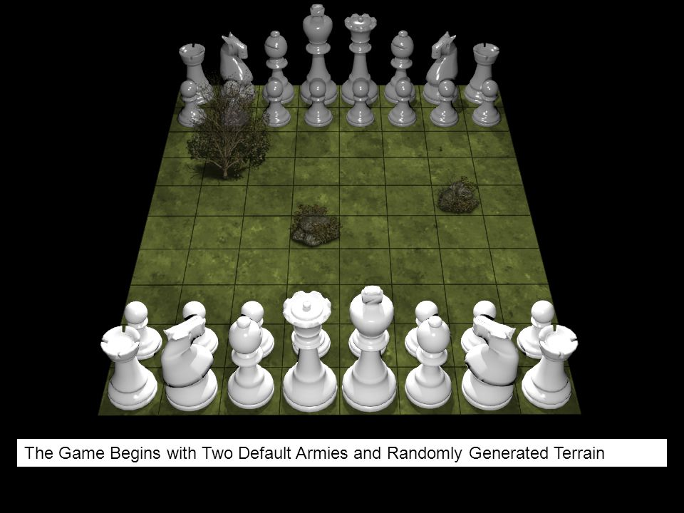 The Game Begins with Two Default Armies and Randomly Generated Terrain