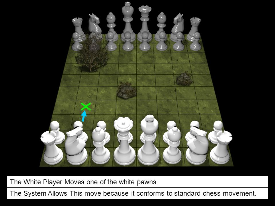 The White Player Moves one of the white pawns.
