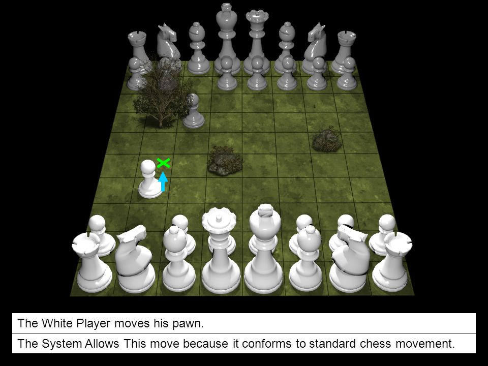 The White Player moves his pawn.